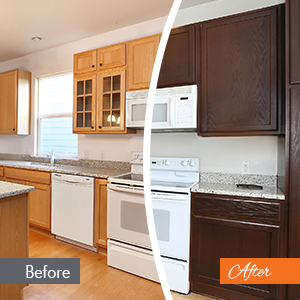 before and after a cabinet refacing in the New Haven area.
