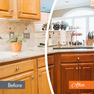 Before After Kitchen Cabinet Color Shift