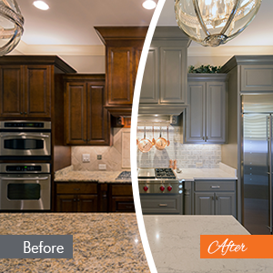before and after grey cabinet comparison