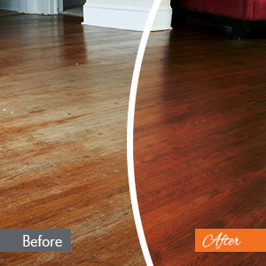 On the left, a photo of an unrefinished floor before N-Hance work. On the right, a photo of the floor after N-Hance refinishing work.