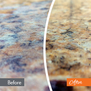 On the left, a photo of a granite counter top before N-Hance refinishing. On the right, a photo of a granite counter top after N-Hance refinishing work.