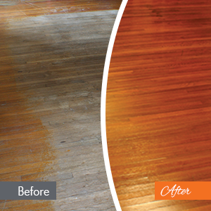 Hammered Floor Refinishing Before and After