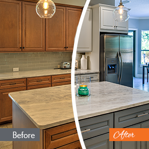 Kitchen Cabinet Painting - Before and After